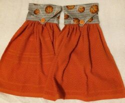 Set 2 handmade cloth top hanging kitchen towels Orange Basketball Hoops NEW $9.59