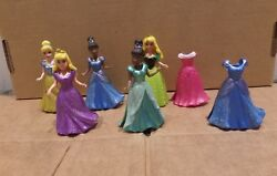 Lot of Five Disney Princess Magic Clip Dolls with Two Extra Dresses $29.90