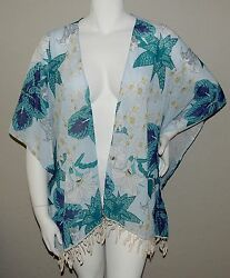 Umgee USA Plus Boho Floral Kimono Wrap Jacket w Lace Trim Blue XL 1XL New $20.65