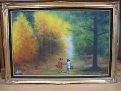 Framed Oil on Canvas 2 Children on Wooded Path by Listed Artist Juan Lopetegui $895.00