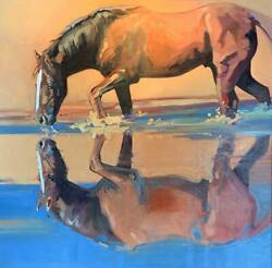 Peggy Judy Water Play Horse Original Oil Painting on Canvas 40x40 Framed