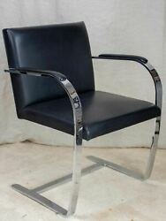 Four vintage Knoll Flat bar Brno armchairs black - Ludwig Mies Van Der Rohe