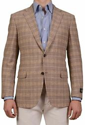 BELVEST Hand Made Tan Prince Of Wales Wool Cashmere Flannel Jacket NEW