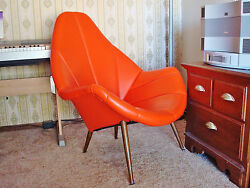 MID-CENTURY MODERN ORIGINAL ORANGE VINYL UPHOLSTERY HIGH-BACK LOUNGE CHAIR