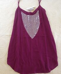 Vix Women#x27;s Magenta Embroidery Bathing Suit Cover Up Dress Size Large $35.00