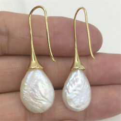 13-18MM white baroque pearl earrings 18K gold hook noble flawless gorgeous party