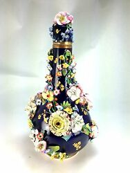 Royal Crown Derby Continental Porcelain Bottle Form Vase With Applied Flowers