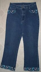 Shy Ger Italian Embroidered Women's Jeans W-29 L-24 Rise-11