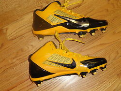 Mens 11.5 Nike Alpha Pro 3 4 Flywire Football Cleats Black Gold yellow Spikes $49.99