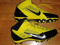 New Mens 10 Nike Alpha Pro 3 4 Flywire TD Football Cleats Black YELLOW Spikes $49.99