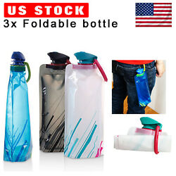 3 Pack Foldable Water Bottle Reusable Collapsible Outdoor Sport Pouch Hiking