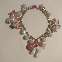 My Little Pony White Pink unicorn Fantasy Chain Charm Bracelet Whimsical Girls