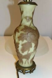 ANTIQUE LAMP WORKS RAISED LEAF PATTERN OLD CAST BASE VINTAGE LIGHTING Ceramic $37.11