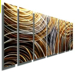Contemporary Metal Wall Art Copper Grey Painting with Abstract Arcs Large Art $415.00