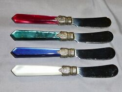 Inox Napolean - 4 Cheese Knife Set - Pearlized Blue Red Green White Handles