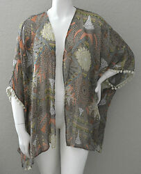Umgee USA Plus Boho Tribal Kimono Wrap Jacket w Pom Pom Trim Peach XL 1XL New $22.45