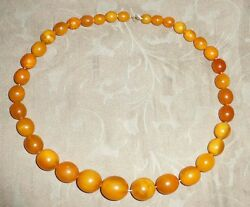 ANTIQUE GENUINE BALTIC AMBER YELLOW HONEY EGG YOLK GRADUATED BEADS 97GR NECKLACE