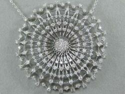 FANCY 3.80CTW DIAMOND 14K GOLD LATTICE STARBURST CLUSTER CIRCLE NECKLACE #101297