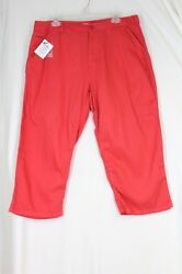 WOMAN WITHIN Capri Pants Plus Size 16P Orange Coral Natural Fit Pockets Cotton