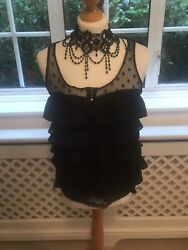 Lovely Ladies TRF Black Netted Ruffle Top Size UK Medium