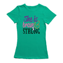 She Is Brave & Strong Cancer Pink Ribbon Women's Kelly Green T-shirt