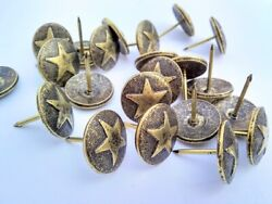 Antique Brass Western Style Star LARGE 3 4 INCH Head Nail Upholstery Tack Pkg 10 $14.99