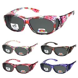 Womens 63mm TAC Polarized Geometric Graphic Print Fit Over Sunglasses