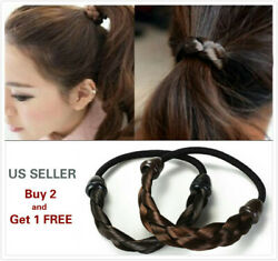 2Pcs Womens Braided Wig Elastic Hair Band Rope Scrunchie Ponytail Holder $4.99