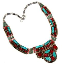 B7902 Turquoise Red Coral 925 Sterling Silver Plated Tribal Necklace 14