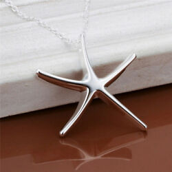Silver Plated Starfish Pendant Necklace Jewelry Statement Chain Necklace Gift SL