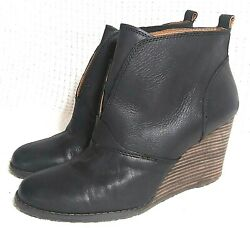 SZ 10 EU 40 Lucky Brand Yinan Black Pull On Leather Booties Stacked Heel Wedge