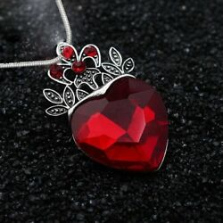 Charm Red Heart Crown Queen Crystal Pendant Necklace Women Wedding Jewelry Gift