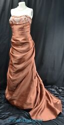 Jovani strapless prom formal lace pleated dress beaded gown pull up train 20 NEW $227.96