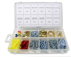 600 Pc Picture Hanging Kit Assortment Fastener Wall Hooks Nail Photo Hangers New $11.99
