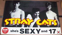 STRAY CATS STUNNING LARGE U.K. PROMO POSTER FOR