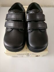 START-RITE ROTATE VELCRO BOYS SCHOOL SHOES - BLACK LEATHER- NEW - VARIOUS SIZES