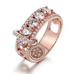 Fashion Rings for Women Rose Gold Filled 925 Silver Plated Jewelry Ring Size4-12