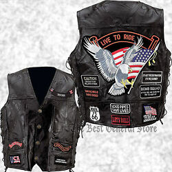 Mens Black Leather Motorcycle Vest Waistcoat with 14 Biker Style Patches Jacket $29.99