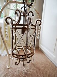 CAGE CHANDELIER FRENCH EMPIRE antique GLASS BEADED CRYSTAL LUSTRES PRISMS vintg $195.00
