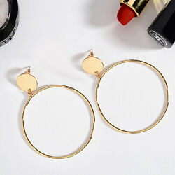 Gold Hoop Ring Pierced Earrings with Gold Disc - LE0002