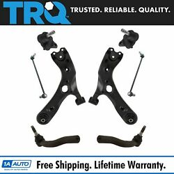 TRQ 8pc Suspension Kit Lower Control Arms w Ball Joints Sway Bar Links Tie Rods