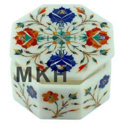 Indian Art 4quot;x4quot; Marble Jewelry Box Inlay Stone Vintage Boxes Marquetry JB50 $197.00