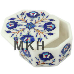 4quot;x4quot; Marble Jewelry Box Inlay Stone Vintage Boxes Marquetry Italian Work JB49 $197.00