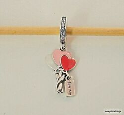NWT AUTHENTIC PANDORA SILVER CHARM HEART BALLOONS DANGLE #798076CZ B'DAY BOX