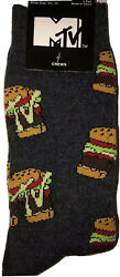New MTV BURGER TIME Mens Novelty Crew Socks AWESOME 80's Socks MUSIC TELEVISION $5.99