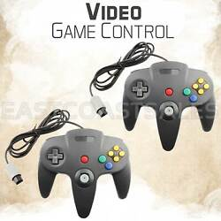 2x For N64 Controller Joystick Gamepad Video Wired Classic Nintendo Console Grey