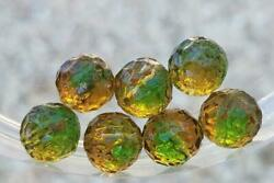 Gorgeous Vintage Dimpled Amber Green Glass Beads Bohemian German Jewelry Making
