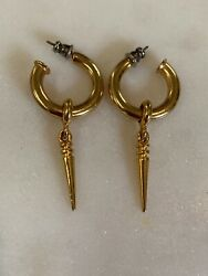 Vintage Goldtone Hoop Earrings Gold Tone  With Removable Charms Pierced Vintage