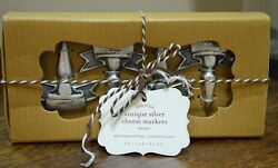 Pottery Barn Cheese Markers Set Of 4 Antique Silver Plate NEW IN BOX! FREE SHIP