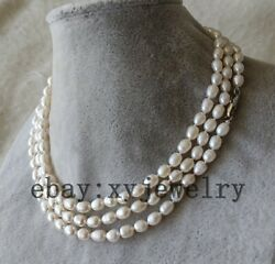 Cultured 5-6mm white rice fresh water pearl wedding party necklace 16-100 inch